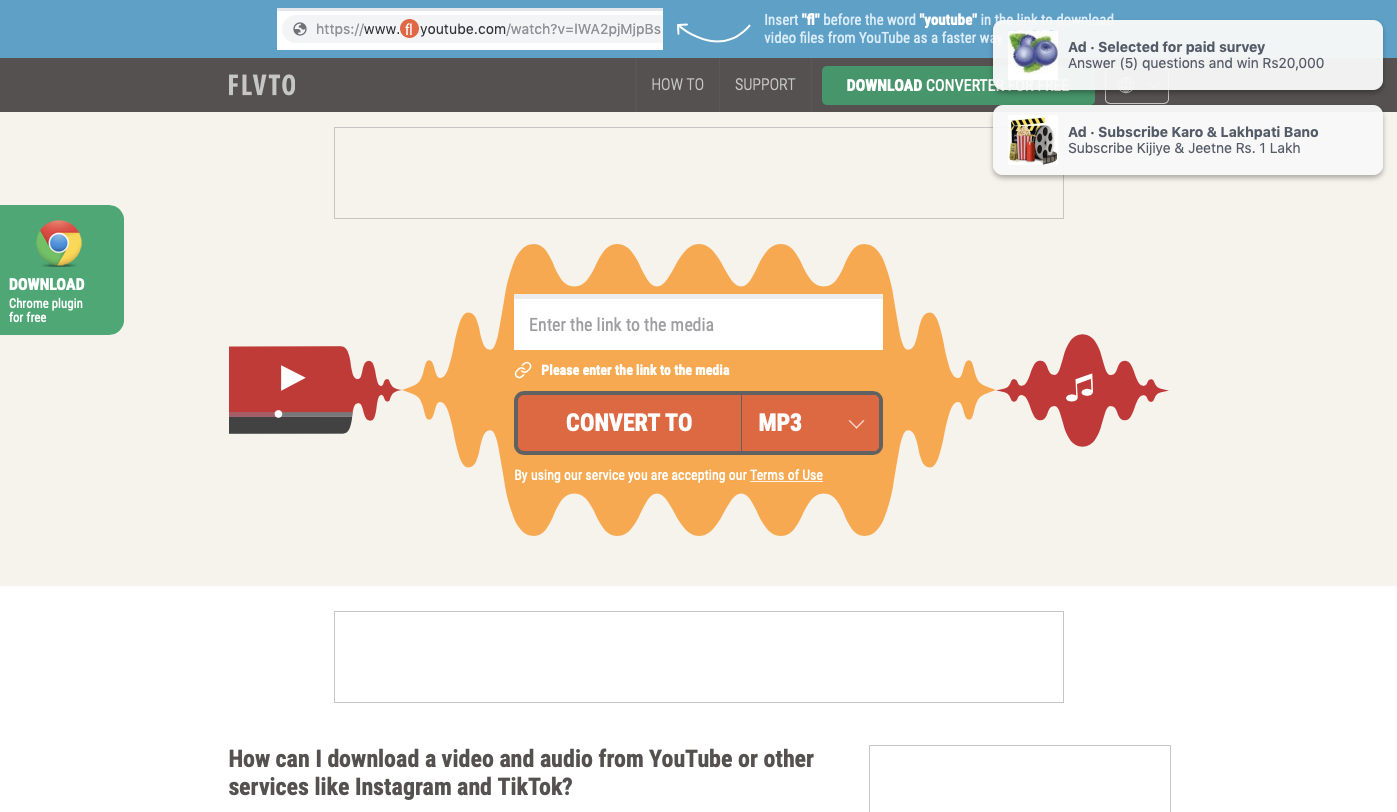 flvto is a third-ranking site similar to mp3 rocket