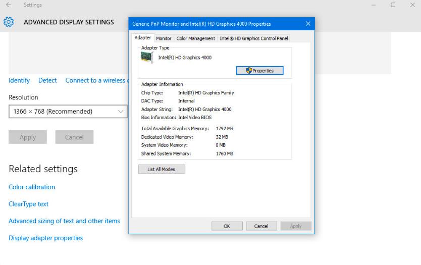 windows 10 graphics card properties